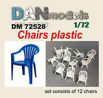 Стулья пластиковые. Аксессуары для диорам. 1/72 DANMODELS DM72528