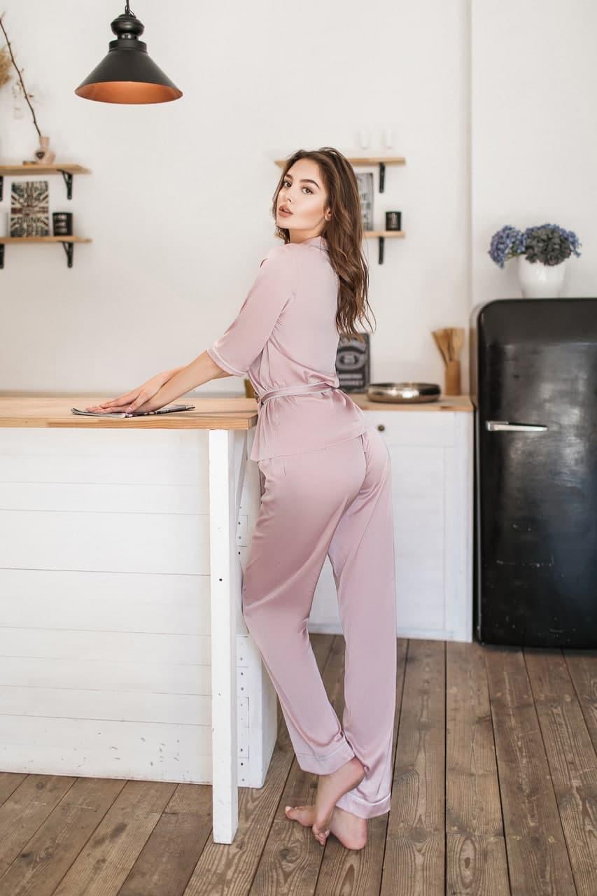 Пижама шелковая женская с брюками Пыльная Роза KAIZA