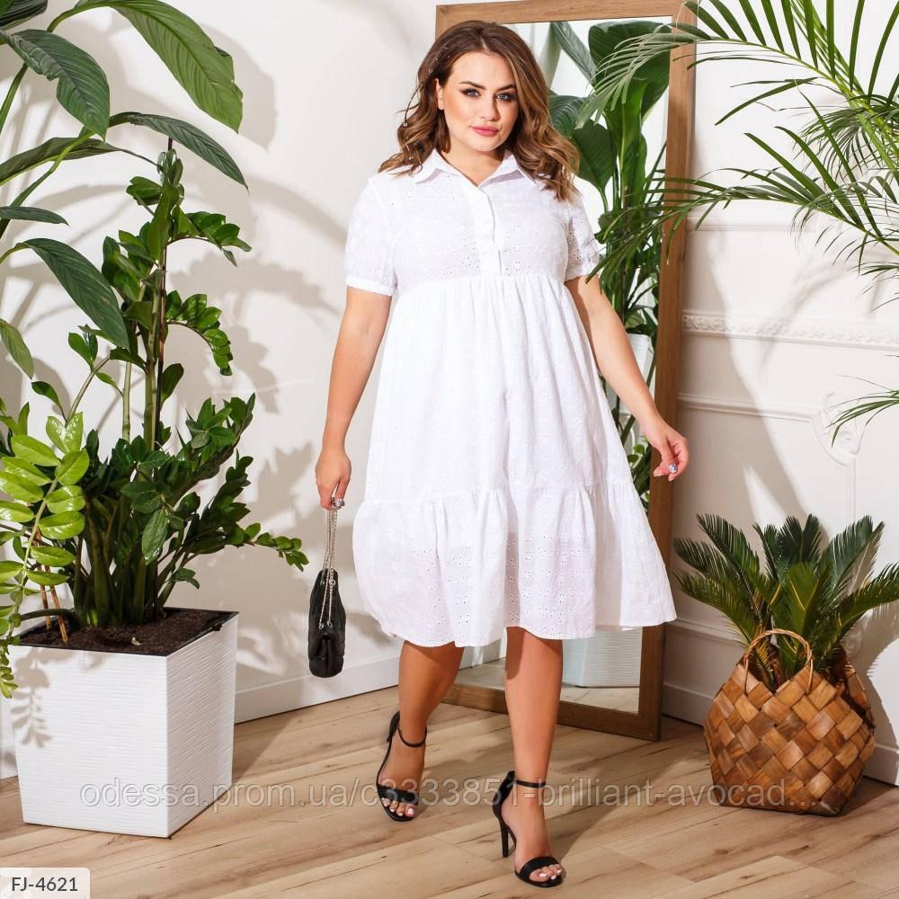 Жіноче красиве літнє бавовняне плаття у великому розмірі