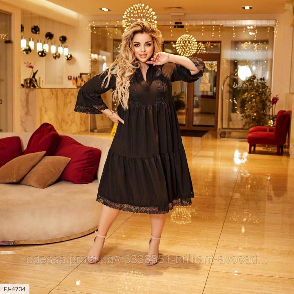 Женское красивое летнее хлопковое платье в большом размере