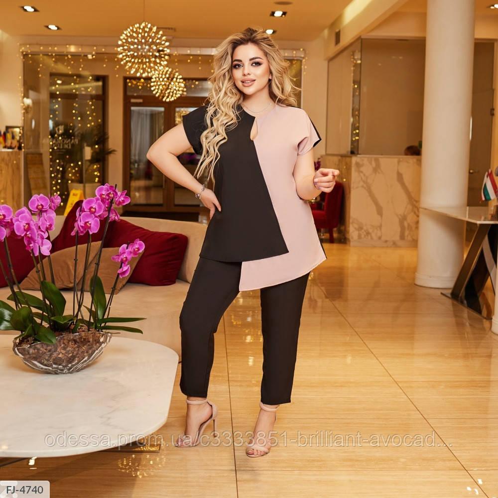 Жіночий брючний костюм ошатний (блуза і брюки) з великому розмірі
