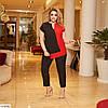 Жіночий брючний костюм ошатний (блуза і брюки) з великому розмірі, фото 3