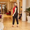 Жіночий брючний костюм ошатний (блуза і брюки) з великому розмірі, фото 4