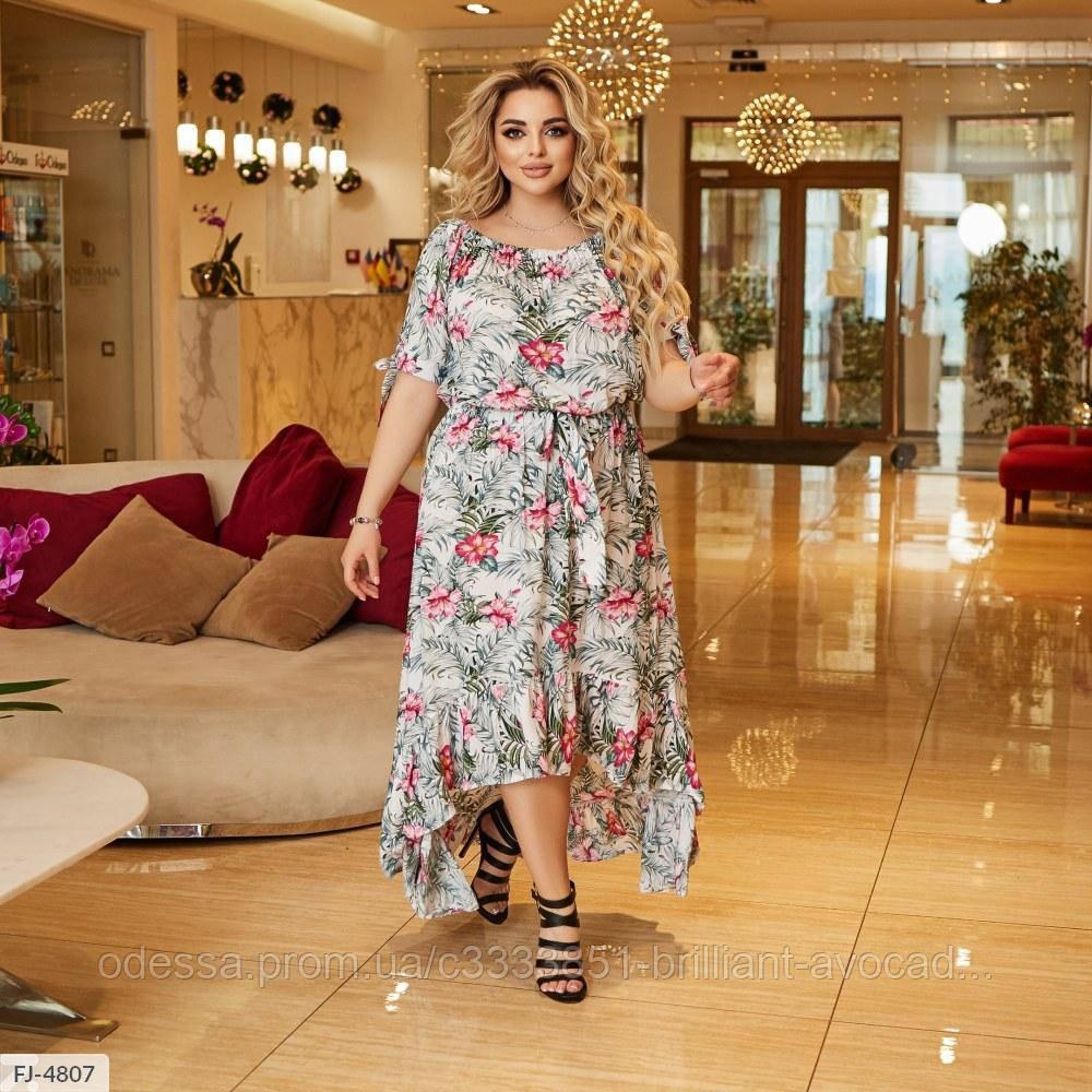 Женское летнее легкое платье в пол с оборкой, цветочный принт, большого размера!