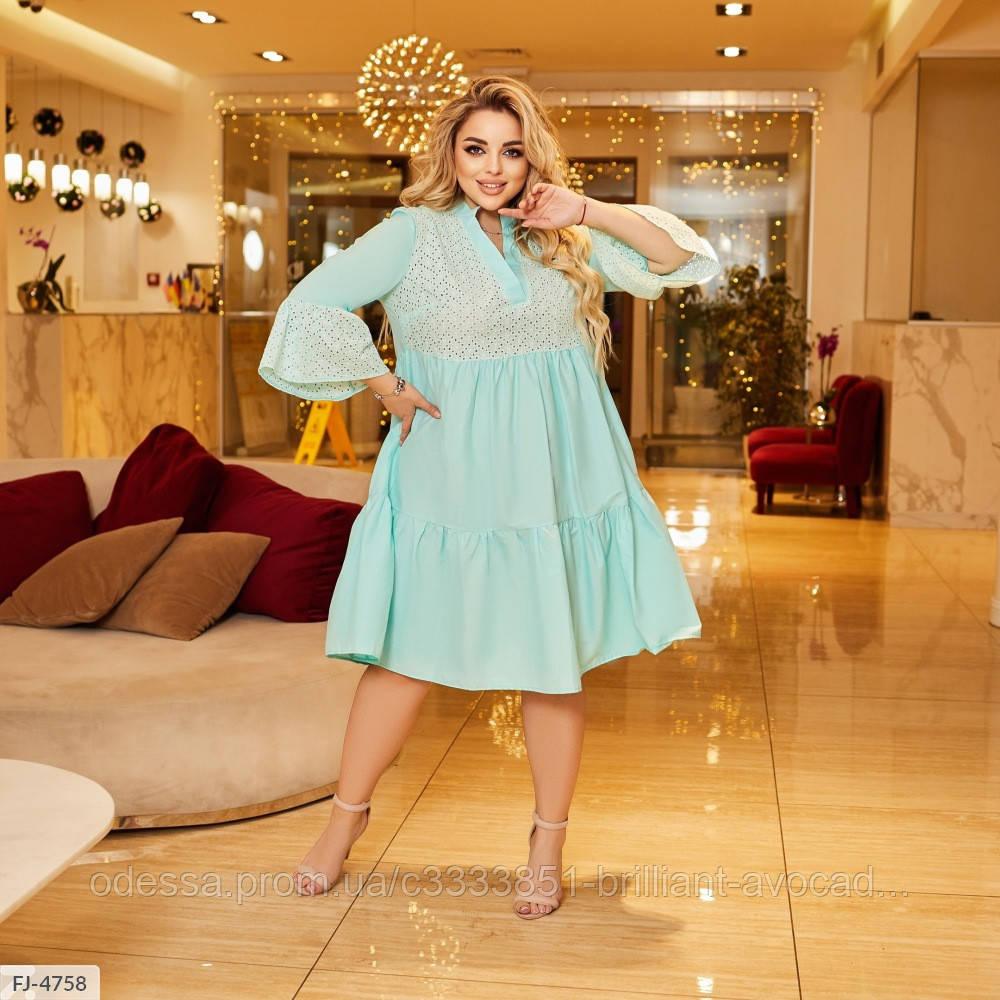 Женское нарядное летнее платье с длинным рукавом и рубашечным верхом, большой размер