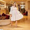 Жіноче ошатне літнє плаття з довгим рукавом і рубашечным верхи, великий розмір, фото 3