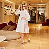 Жіноче ошатне літнє плаття з довгим рукавом і рубашечным верхи, великий розмір, фото 4