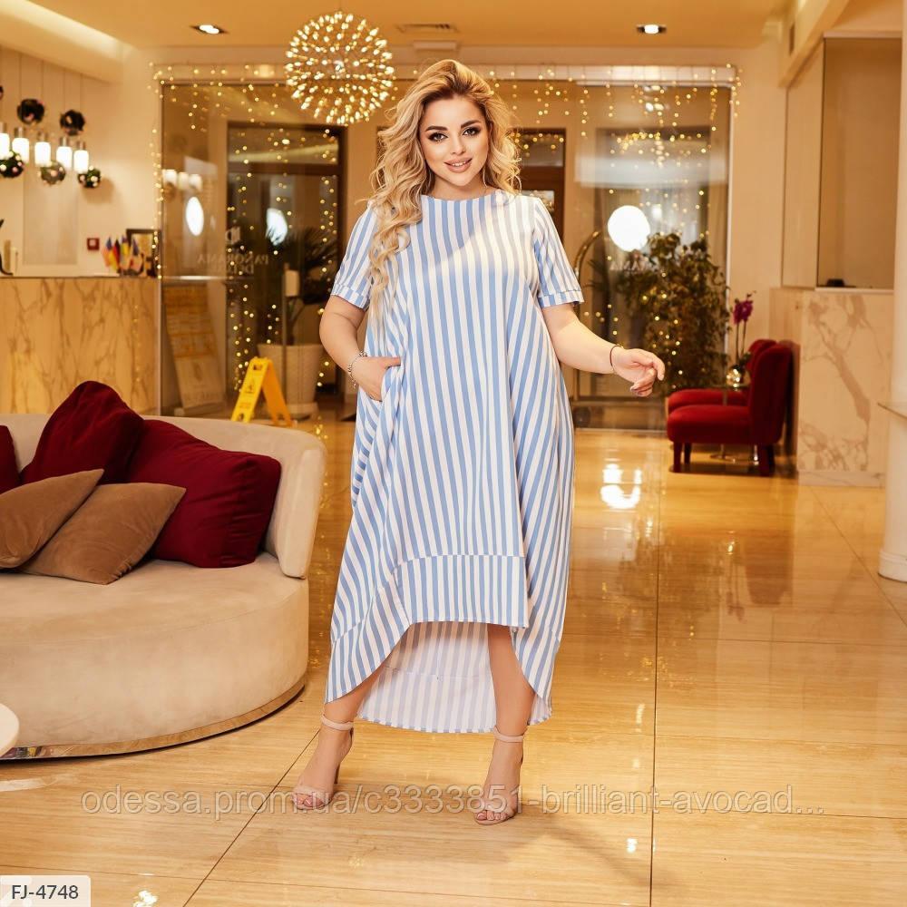 Женское летнее платье с ассиметрией в полоску, большой размер!