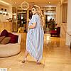 Женское летнее платье с ассиметрией в полоску, большой размер!, фото 2
