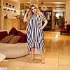 Женское летнее платье с ассиметрией в полоску, большой размер!, фото 3