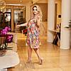 Женское летнее легкое шифоновое платье по колено, большой размер!, фото 4