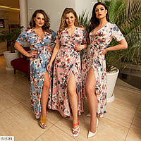 Женское красивое летнее платье на запах, в цветочный принт, большой размер!