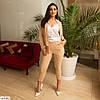 Жіночий модний брючний костюм трійка (штани, піджак і майка) великий розмір!, фото 8