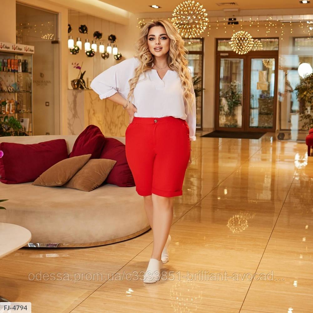 Жіночі літні довгі лляні шорти у великому розмірі