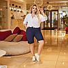 Жіночі літні довгі лляні шорти у великому розмірі, фото 6