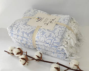 Набор махровых полотенец 4шт Жакард Синий