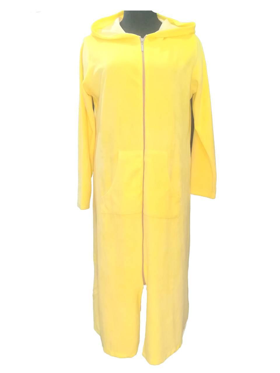 Женский велюровый халат с капюшоном на молнии, длинный, хлопок, Турция, желтый