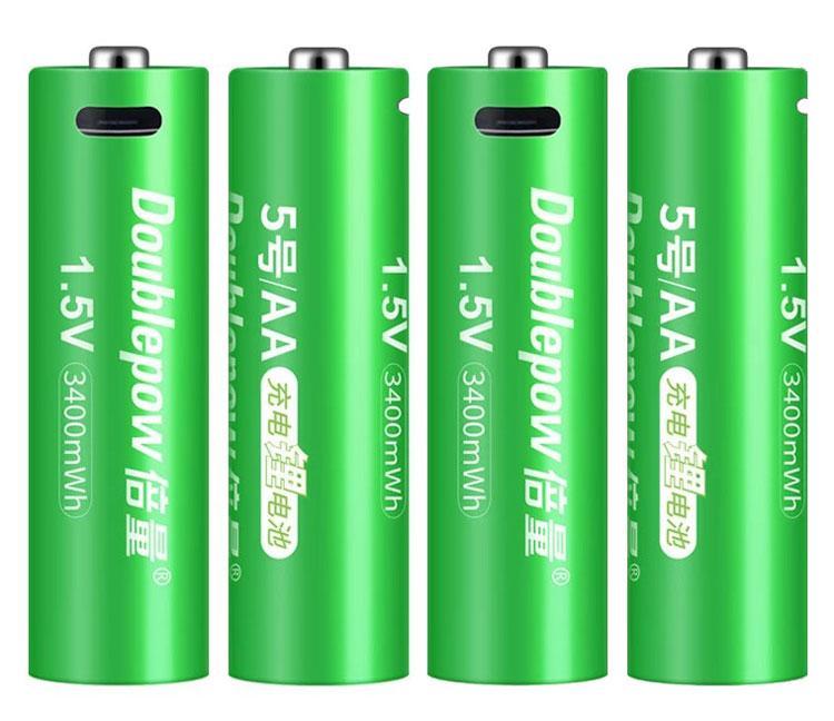 Пальчикова батарейка АА micro USB 2260 мАч (3400mWh) 1.5 V - Li-Ion Doublepow комплект (4шт + шнур)