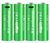 Пальчикова батарейка АА micro USB 2260 мАч (3400mWh) 1.5 V - Li-Ion Doublepow комплект (4шт + шнур), фото 1