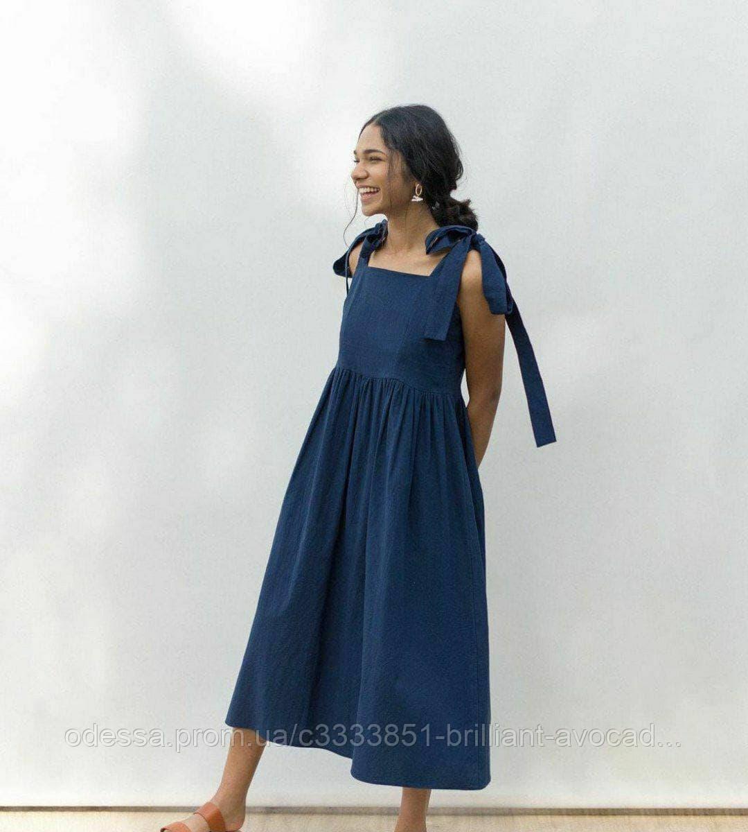 Женское летнее льняное платье с завязками на лямках