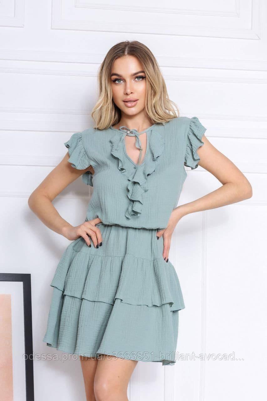 Женское летнее платье мини с оборками и вырезом каплей