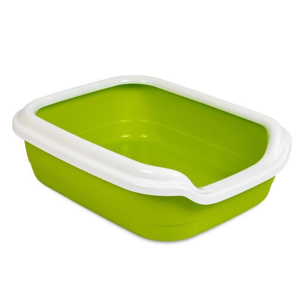 Туалет для котів Природа з бортиком «Comfort» 39 x 49 x 15 см (пластик, колір: зелений)