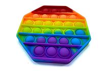 Pop It (поп ит) сенсорная игрушка антистресс, радуга восьмиугольник, фото 1