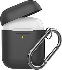 Силиконовый чехол для AirPods Promate GripCase с карабином Black