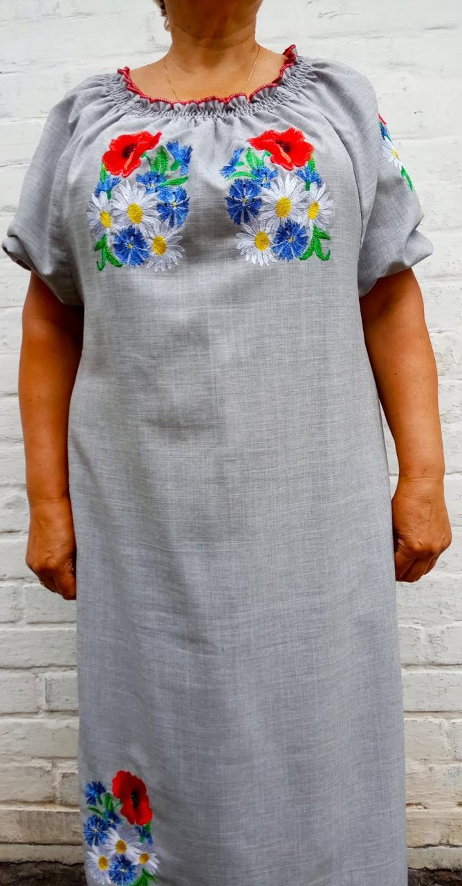 Платье вышиванка женская лён р. 52-54