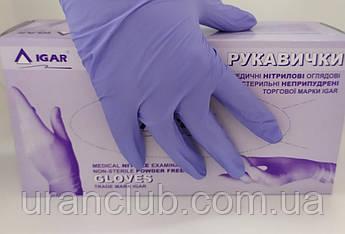 Перчатки нитриловые нестерильные неопудренные, размер L, IGAR, фиолетовые, уп. 100 пар (200шт)