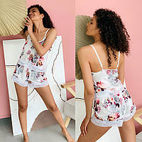 Женская стильная шелковая пижама: шорты и топ Батал, фото 1