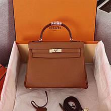 Сумка жіноча стильна 28 см, колір коричневий, шкіряна