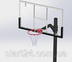 Стойка баскетбольная регулируемая под бетонирование вынос 1200 мм разборная, фото 3