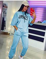 Жіночий стильний костюм: штани і футболка з капюшоном, фото 1