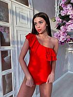 Красивые женские черные и красные  купальники с валаном тренд 2021