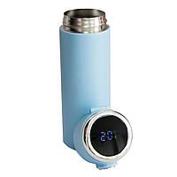 """Термочашка """"Vacuum cup"""" Блакитна на 420 мл, термокружка з індикатором температури для кави, термос для чаю, фото 1"""