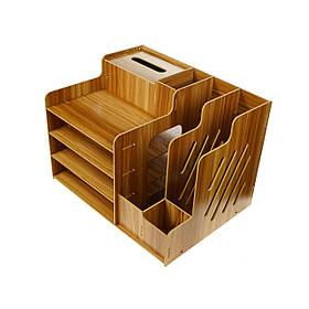 Органайзер підставка настільна для канцелярського приладдя і документів дерев'яна