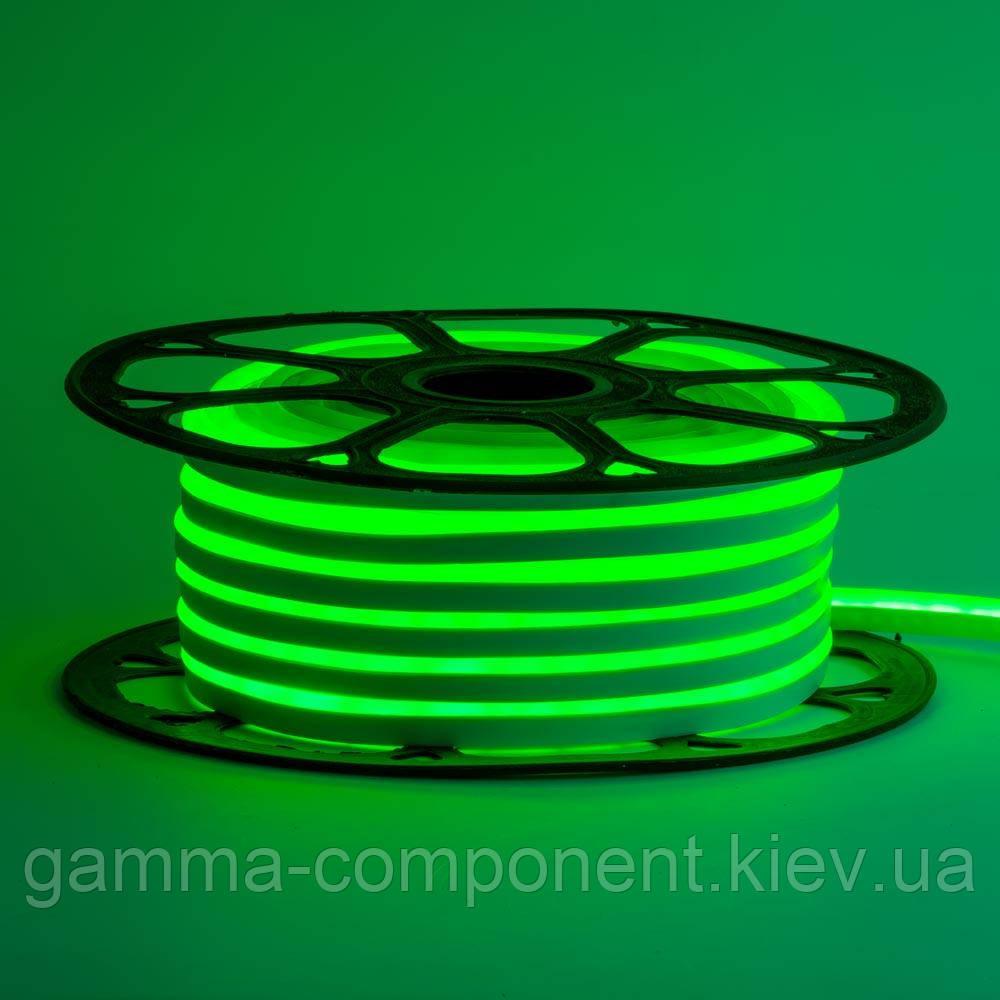 Неонова стрічка світлодіодна зелена 12V 6х12 AVT-smd2835 120LED/м 6Вт/м IP65