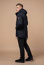 Парку зимова з кишенями чоловіча колір темно-сірий, коричневий модель 1533 (ЗАЛИШИВСЯ ТІЛЬКИ 54(XXL)), фото 3