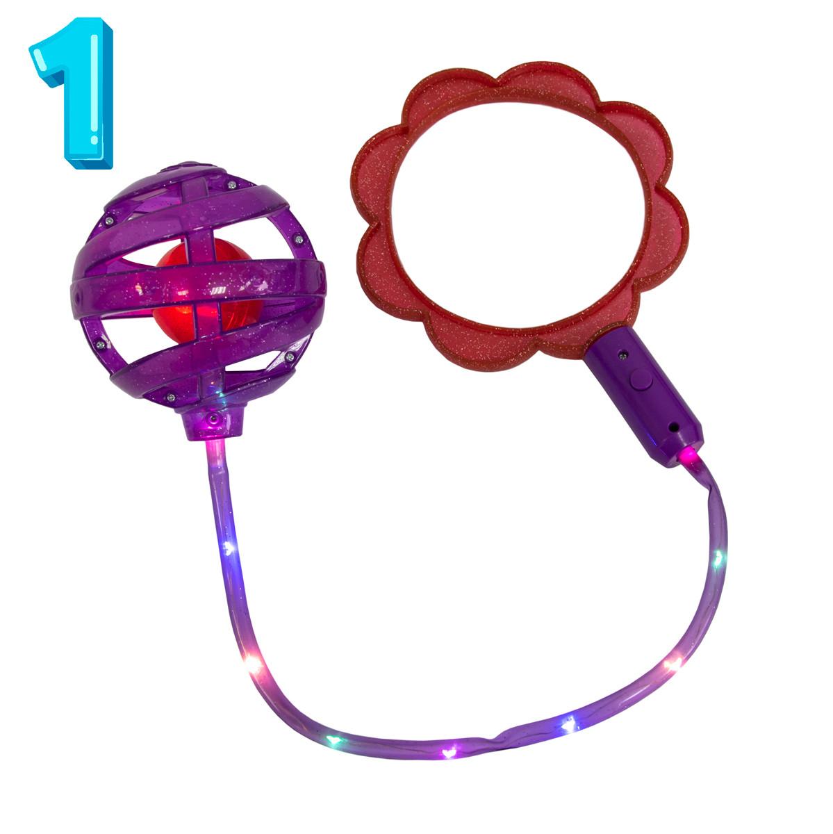 Нейроскакалка з підсвіткою на одну ногу Ice Hoop (Червоне кільце у формі квітки + Фіолетова куля №1)
