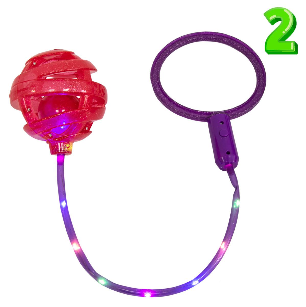 Детская скакалка на одну ногу Ice Hoop (Фиолетовое кольцо + Красный шар №2), светящаяся нейроскакалка (ST)
