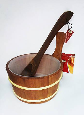 Набір дерево (шайка 4л + черпак 40см) термоосина для лазні та сауни, фото 2