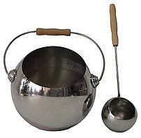 "Набір ""Глобус"" полірована нержавіюча сталь (шайка 4 л + черпак 40 см) для лазні та сауни"