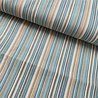 Ткань декоративная с тефлоновой пропиткой в голубую и бежевую полоску, ширина 180 см