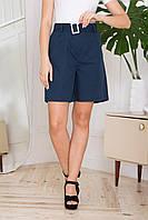 Жіночі літні лляні шорти прямого силуету, з двома бічними кишенями. Синього кольору, фото 1