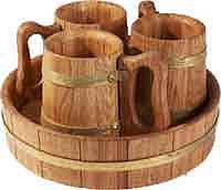 Пивний дубовий набір на 3 персони для лазні та сауни, фото 2