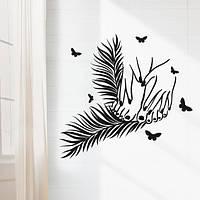Интерьерная виниловая наклейка на стену Маникюр и педикюр (декор для салона красоты) матовая 700х750 мм