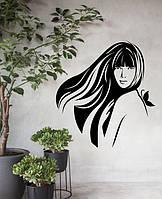 Вінілова наклейка Дівчина з метеликом (декор салону краси перукарня зачіска) матова 550х600 мм