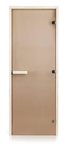 Стеклянная дверь для бани и сауны GREUS Classic прозрачная бронза 70/200 усиленная (3 петли) липа, фото 2