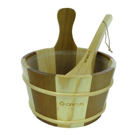 Набір Greus сосна/ялина (шайка 4 л + черпак) з пластиковою вставкою для лазні та сауни, фото 2